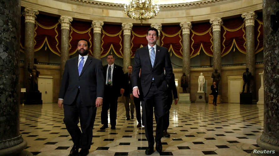 Speaker of the House Paul Ryan (R-WI) walks to the House floor before a vote to pass a budget and to end a government shutdown on Capitol Hill in Washington, U.S., Feb. 9, 2018.