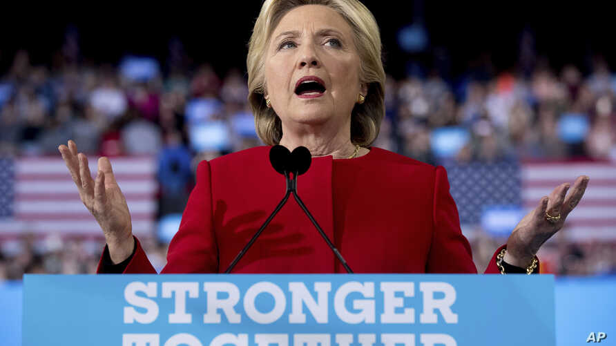 Democratic presidential candidate Hillary Clinton speaks during a campaign rally in Raleigh, N.C., Nov. 8, 2016.
