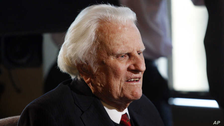 In this Dec. 20, 2010 file photo, evangelist Billy Graham, 92, speaks during an interview at the Billy Graham Evangelistic Association headquarters in Charlotte, N.C.
