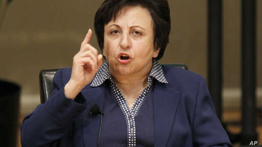 Shirin Ebadi participates in the World Summit of Nobel Peace Laureates, April 25, 2012, in Chicago. On Wednesday, Ebadi urged Iranians to press on with their nationwide protests.