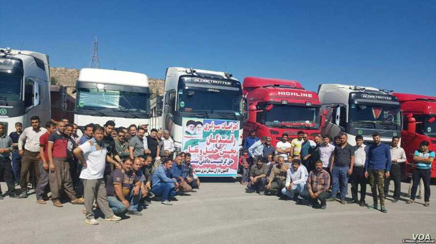 Iranian truck drivers in the northeastern region of Khorasan on strike over low wages, May 23, 2018