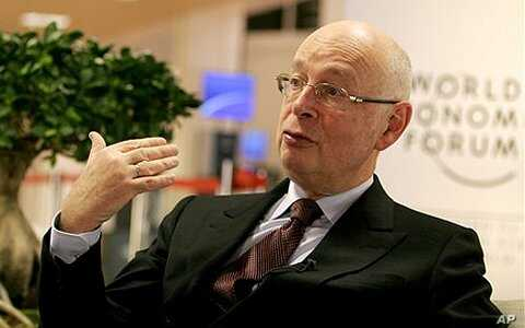 World Economic Forum founder Klaus Schwab speaks with the press inside the Congress Center at Davos, Switzerland (2010 file photo)