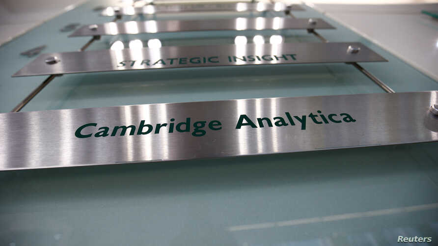 The nameplate of political consultancy, Cambridge Analytica, is seen in central London, Britain, March 21, 2018.