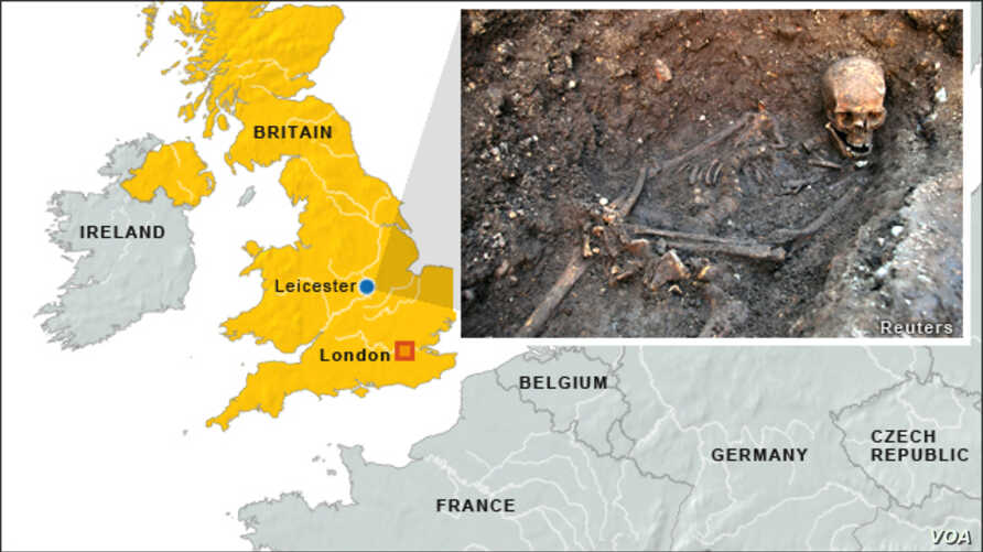 King Richard III remains in Leicester, Britain