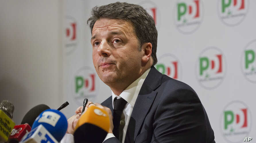 Democratic Party leader Matteo Renzi speaks during a press conference on the election results, in Rome, March 5, 2018.