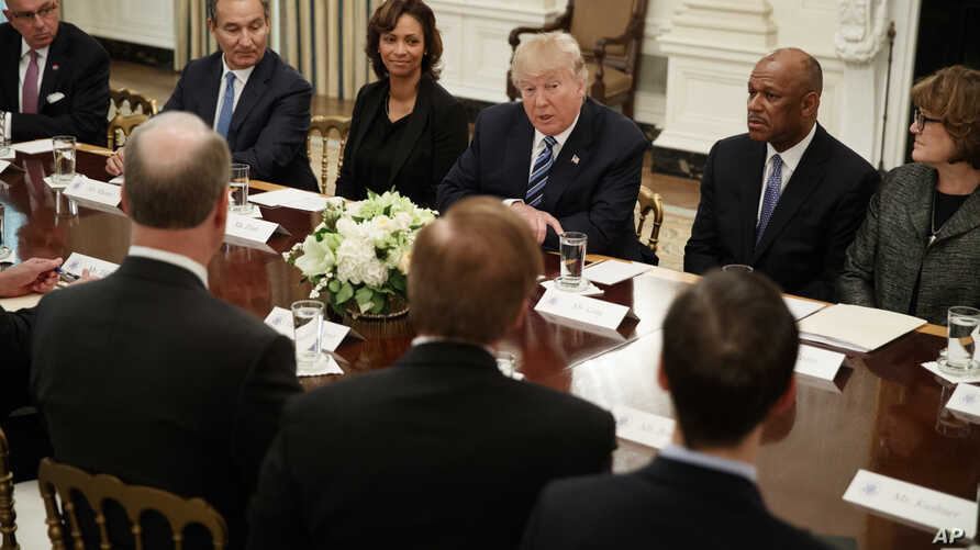 President Donald Trump speaks during a meeting with airline executives in the State Dining Room of the White House in Washington, Feb. 9, 2017.