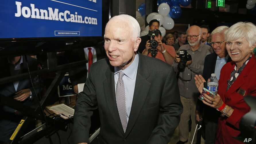 FILE - Sen. John McCain, R-Ariz., is pictured after winning the Arizona Republican primary in Phoenix. On Tuesday, McCain won his sixth term at age 80, in what possibly was his final campaign.
