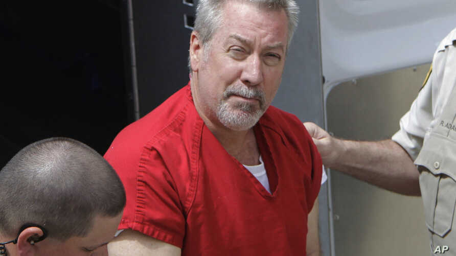 FILE - Former Bolingbrook, Illinois, police officer Drew Peterson arrives for court in Joliet, Illinois, May 8, 2009. On May 31, 2016, jurors found Peterson guilty of trying to hire someone to kill the prosecutor who helped convict him in his third w