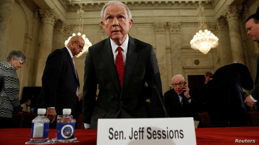 U.S. Sen. Jeff Sessions (R-AL) takes his seat to resume his testimony during a Senate Judiciary Committee confirmation hearing for his nomination to become U.S. attorney general on Capitol Hill in Washington, Jan. 10, 2017.