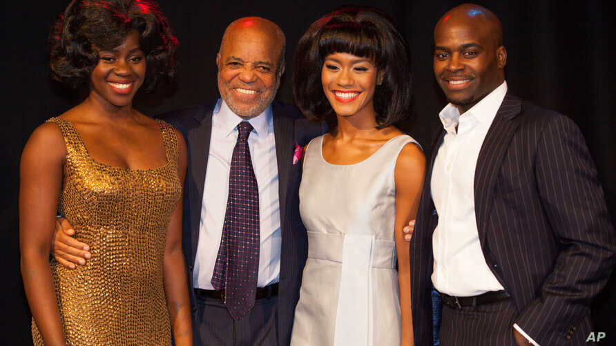 """From left, Aisha Jawondo, Motown Records founder Berry Gordy, Lucy St. Louis and Cedric Neal pose at the launch of """"Motown The Musical"""" in central London, Oct. 5,  2015."""