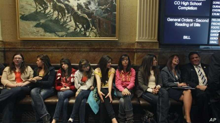 Invited students from Yuma and Pueblo, Colorado, listen to a Colorado Legislature debate on a bill which would grant in-state tuition to undocumented students, inside the State Capitol, in Denver, Tuesday March 5, 2013.