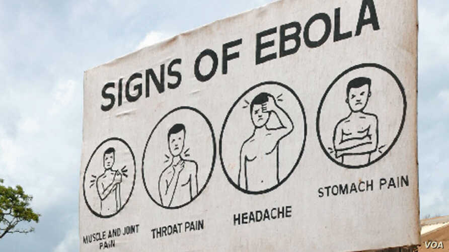 Sign displaying the symptoms of Ebola. AGI says leaders of Guinea, Liberia and Sierra Leone made critical decisions in effort to end Ebola.  (Credit: AGI)