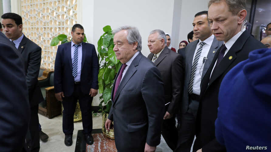 Secretary General of the United Nations Antonio Guterres leaves Al-Azhar headquarters after a visit, in Cairo, Egypt, April 2, 2019.