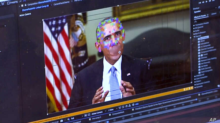 This image made from video of a fake clip featuring former president Barack Obama shows elements of facial mapping used in new technology that lets anyone make videos of real people appearing to say things they've never said.