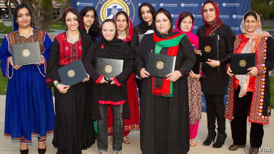 Graduates of the 2013 class of Project Artemis are seen with their diplomas. This is the fifth class of Afghan woman entrepreneurs to graduate from the program, which is hosted by the Thunderbird School of Global Management in Glendale, Arizona. (Cou