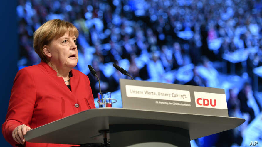 Germany German Chancellor and Chairwomen of the CDU, Angela Merkel, speaks during a party conference of the Christian Democratic Union (CDU) in Essen, Germany, Dec. 6, 2016.