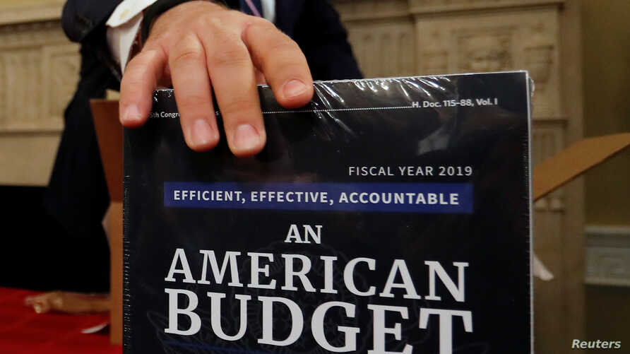Copies of the President Trump's FY 2019 budget proposal are delivered to the U.S. House Budget Committee offices on Capitol Hill in Washington, Feb. 12, 2018.