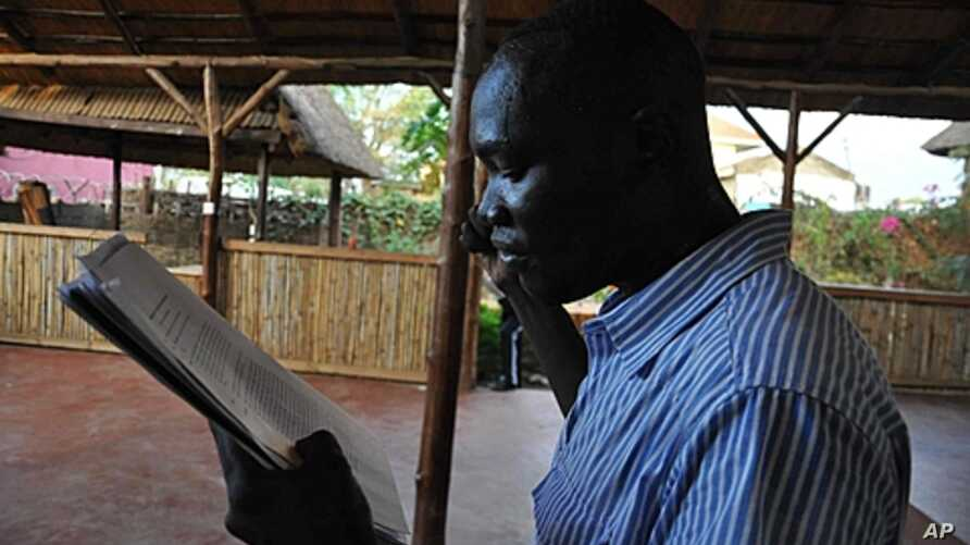 In the sweltering heat, an actor practices his lines, Juba, South Sudan, April 4, 2012.