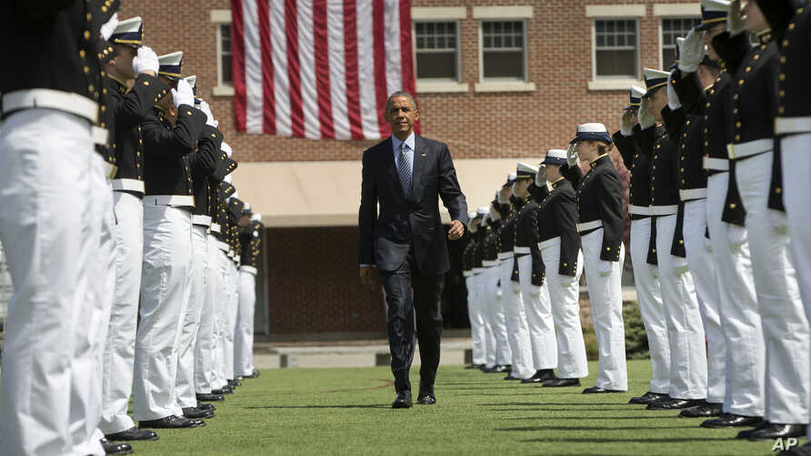 President Barack Obama is introduced at the U.S. Coast Guard Academy graduation in New London, Conn., May 20, 2015, before giving the commencement address.