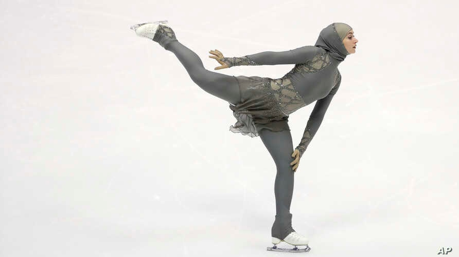Zahra Lari of the United Arab Emirates performs during women's short program of Figure Skating competition at Makomanai Indoor Skating Rink at the Asian Winter Games in Sapporo, northern Japan, Feb. 23, 2017.