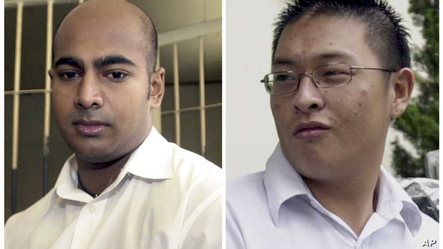FILE - This combination of two file photos from Jan. 24, 2006, left, and Jan. 26, 2006 shows Australian drug traffickers Myuran Sukumaran, left, and Andrew Chan during their trial in Bali, Indonesia.