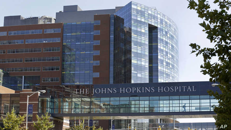 FILE -  Part of the Johns Hopkins Hospital complex is seen in Baltimore, Maryland, Oct. 2, 2013.