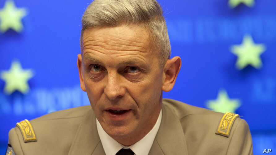 FILE - In this March 5, 2013 file photo, French Gen. Francois Lecointre, speaks during a media conference at EU headquarters in Brussels. Lecointre, who led EU training mission in Mali, is to be new French military chief after predecessor quit in dis