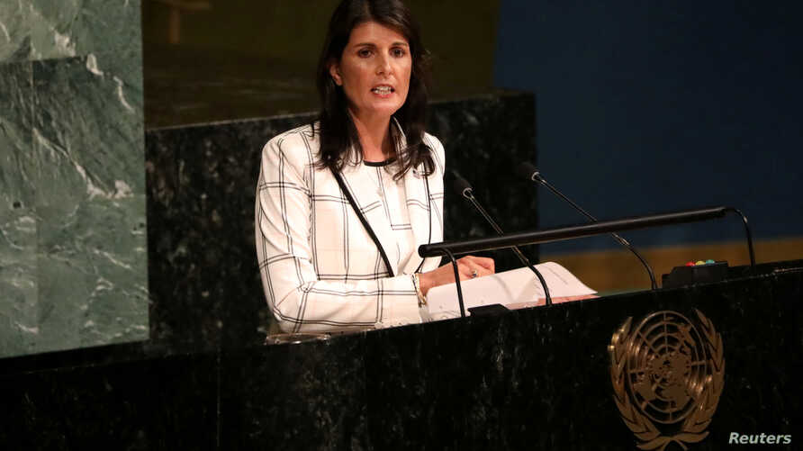 FILE - U.S. Ambassador to the United Nations Nikki Haley addresses a General Assembly meeting ahead of a vote on a draft resolution that would deplore the use of excessive force by Israeli troops against Palestinian civilians, at U.N. headquarters in