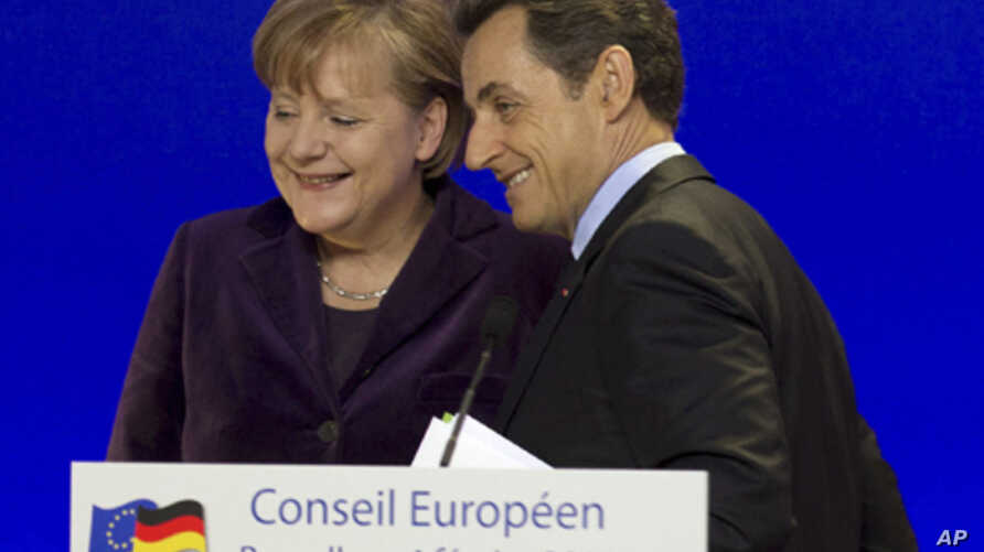 German Chancellor Angela Merkel and French President Nicolas Sarkozy in a joint news conference in Brussels, February 04, 2011