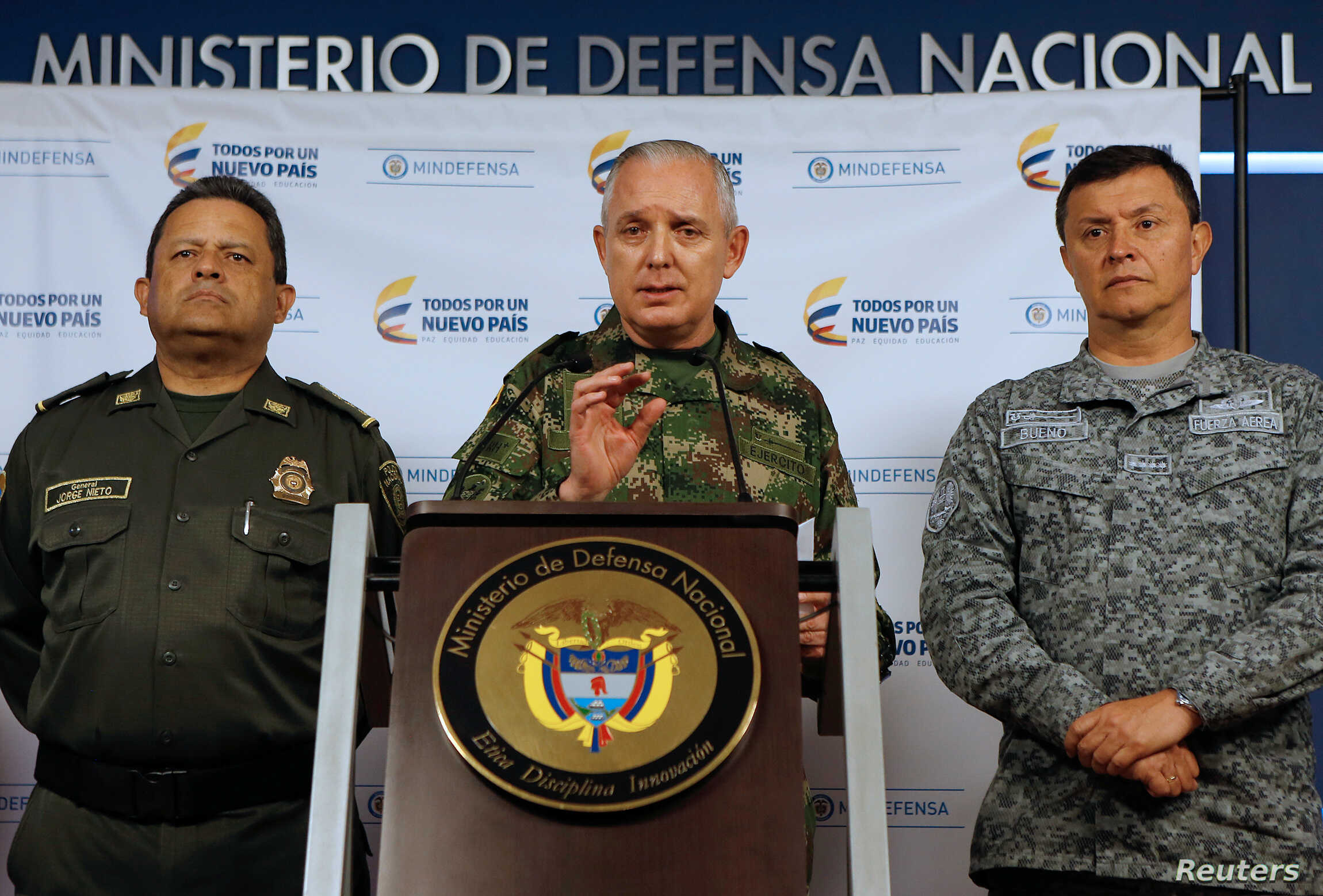 Alberto Mejia, General Commander of the Colombian National Army, speaks during a news conference in Bogota, Colombia, March 20, 2018.