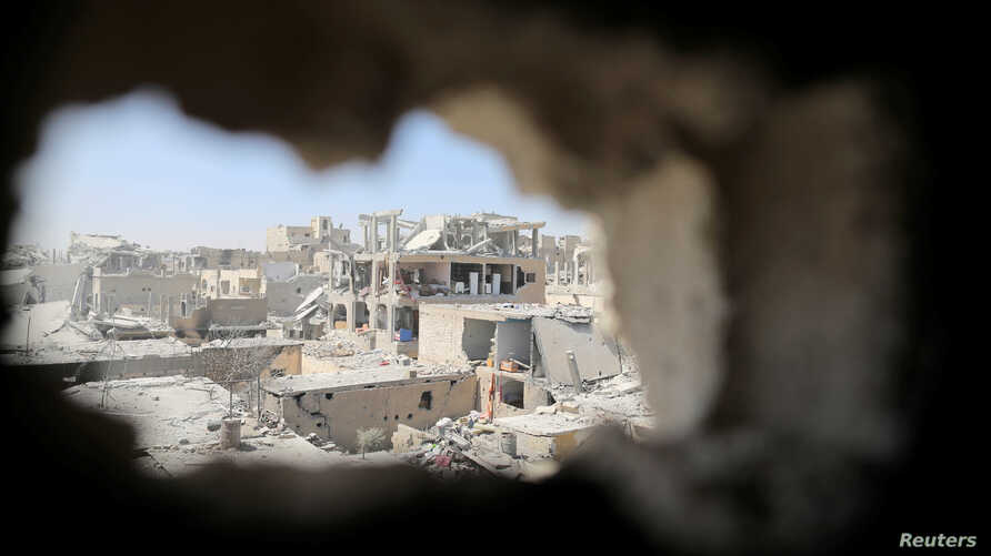 Damaged buildings are pictured during the fighting with Islamic State's fighters in the old city of Raqqa, Syria, Aug. 19, 2017.