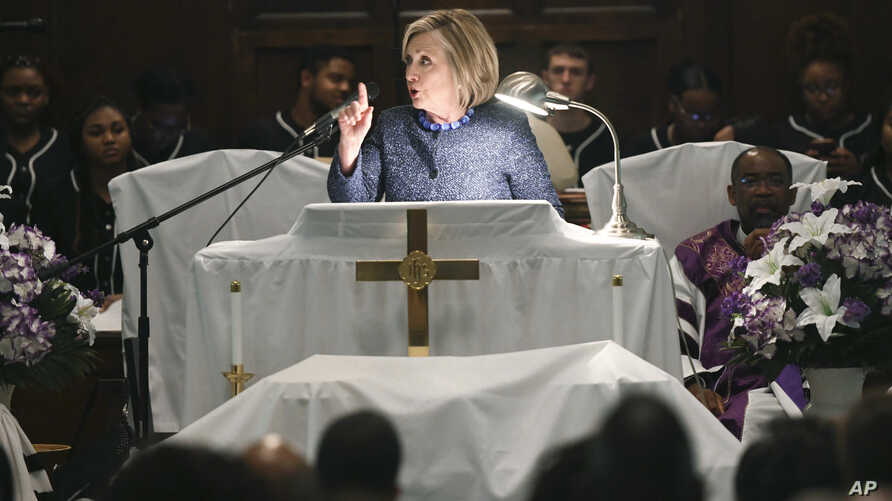 """Former Secretary of State Hillary Clinton speaks during a commemorative service marking the anniversary of """"Bloody Sunday""""  at Brown Chapel AME Church in Selma, Ala., March 3, 2019."""