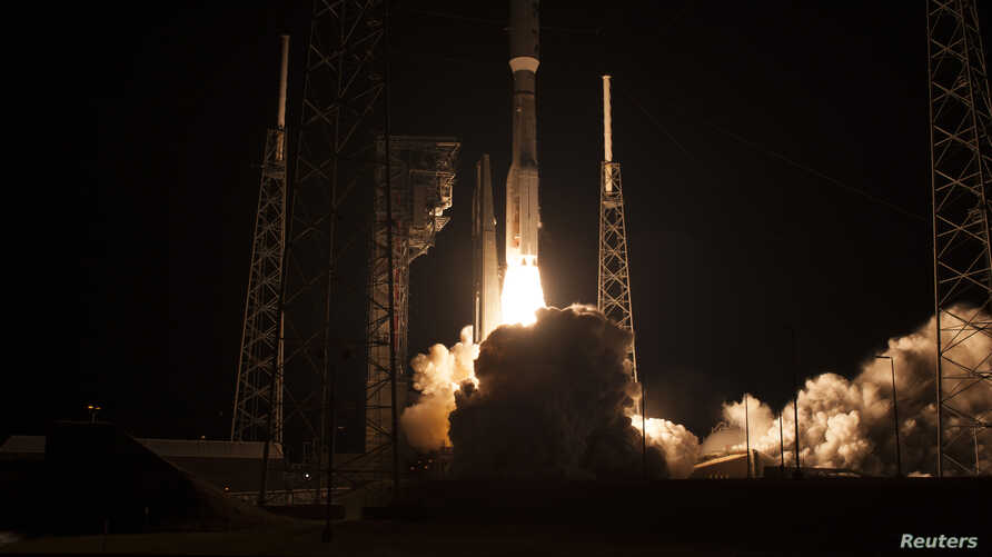 An Atlas V rocket with NOAA's Geostationary Operational Environmental Satellite (GOES-R), lifts off at 6:42 p.m. EST at Space Launch Complex 41 at Cape Canaveral Air Force Station in Florida, Nov. 19, 2016.
