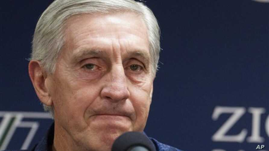 Utah Jazz Jerry Sloan announces his resignation during an NBA news conference in Salt Lake City, Utah, Feb 10, 2011
