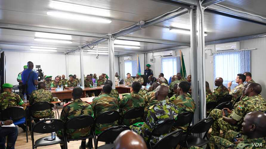 Senior military officers of the African Union Mission in Somalia (AMISOM) and other international partners attend the closing session of the AMISOM Sector Commanders Conference in Mogadishu, Somalia, Feb. 15, 2019. (O. Abdisalan/AMISOM)