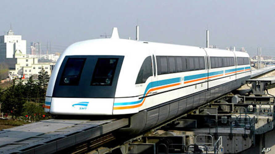 A magnetic levitation or 'Maglev,' train running on a test rail in Shanghai, China (file photo))