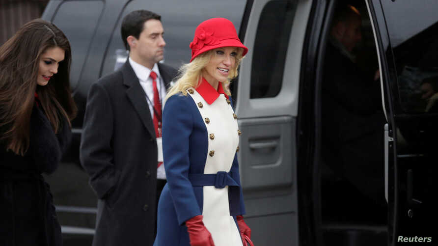Kellyanne Conway, adviser to U.S. President-elect Donald Trump, departs for a church service before the 58th Presidential Inauguration in Washington, U.S., Jan. 20, 2017.