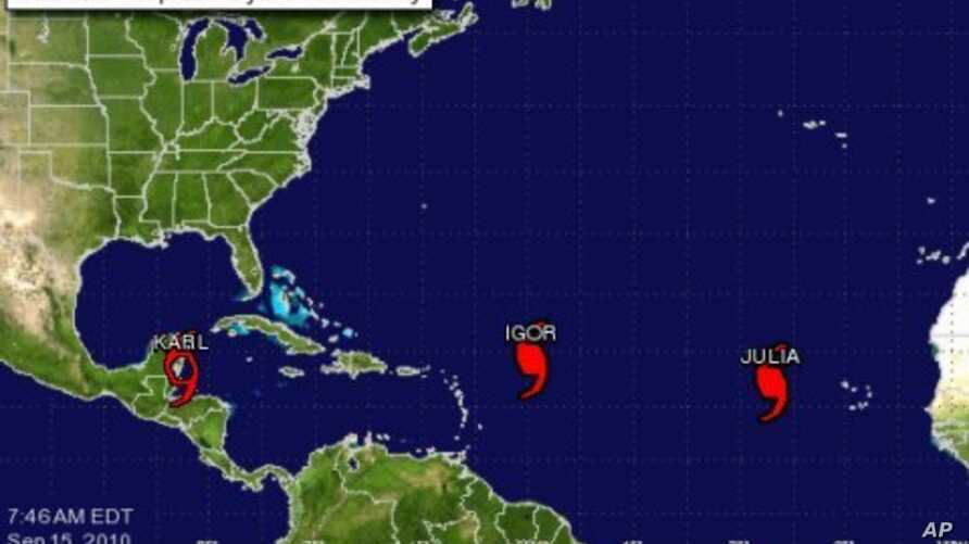 Map of Atlantic Tropical Cyclone Activity, 15 Sep 2010, 7:46 a.m. EDT