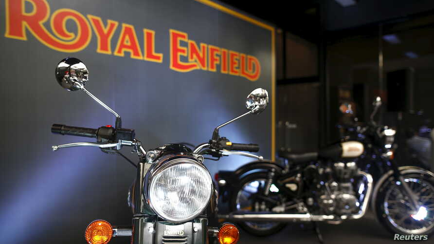 FILE - Royal Enfield motorcycles are displayed at Royal Enfield's flagship shore in Bangkok, Thailand, Feb. 24, 2016.