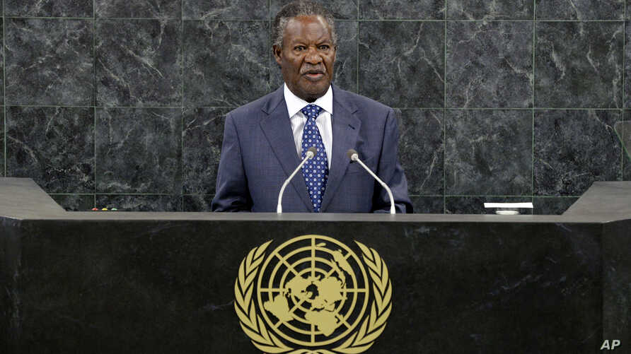 FILE - Michael Chilufya Sata, President of Zambia, speaks during the general debate of the 68th session of the United Nations General Assembly at United Nations headquarters, Sept. 24, 2013.