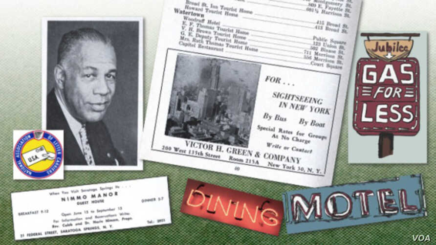 Victor H. Green (c. 1955) and Green Book page excerpts with sign artwork by Dan Rodda. (Courtesy photo from greenbookchronicles.com)