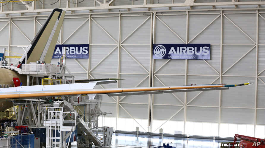 FILE - The Airbus A350 XWB assembly line is seen in Toulouse, southwestern France, June 16, 2014.