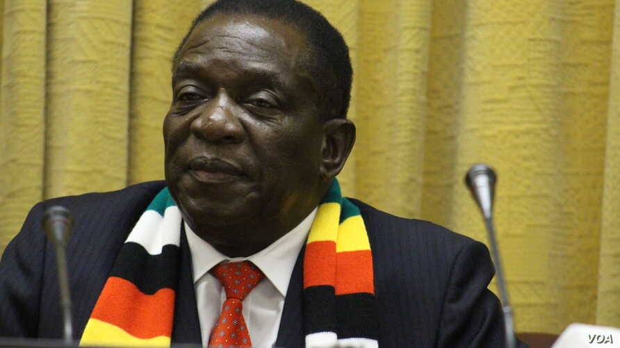 President Emmerson Mnangagwa was cautious about Zimbabwe discovering oil and gas deposits, Nov. 2, 2018, in Harare.