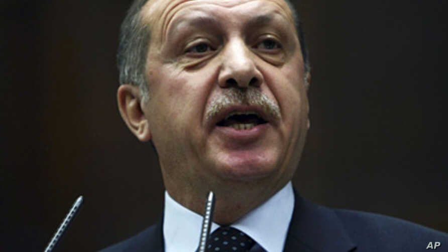 Turkey's Prime Minister Recep Tayyip Erdogan addresses the lawmakers of his Islamic-rooted party at the parliament in Ankara,  Feb. 7, 2012.