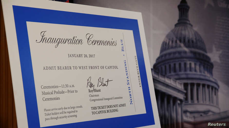 The tickets to the inauguration of President-elect Donald Trump are unveiled to reporters at the U.S. Capitol in Washington, U.S. Jan, 5, 2017
