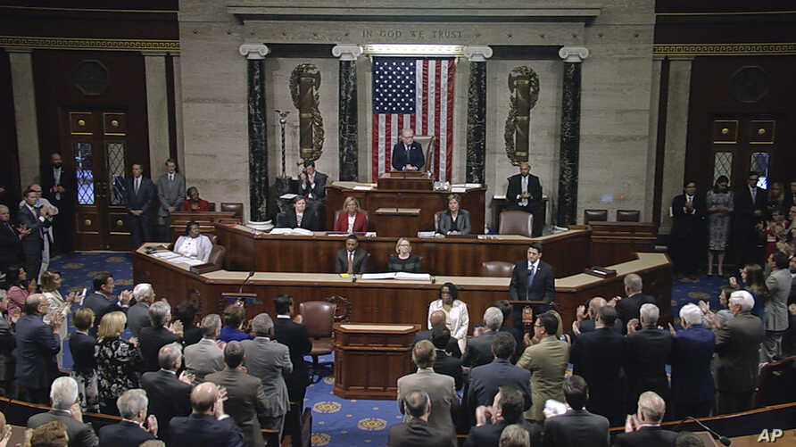 "In this image from House Television video, House Speaker Paul Ryan addresses a hushed and packed chamber hours after the shooting of  Representative Steve Scalise, June 14, 2017, Ryan said, ""We are united in our anguish. An attack on one of us is an"