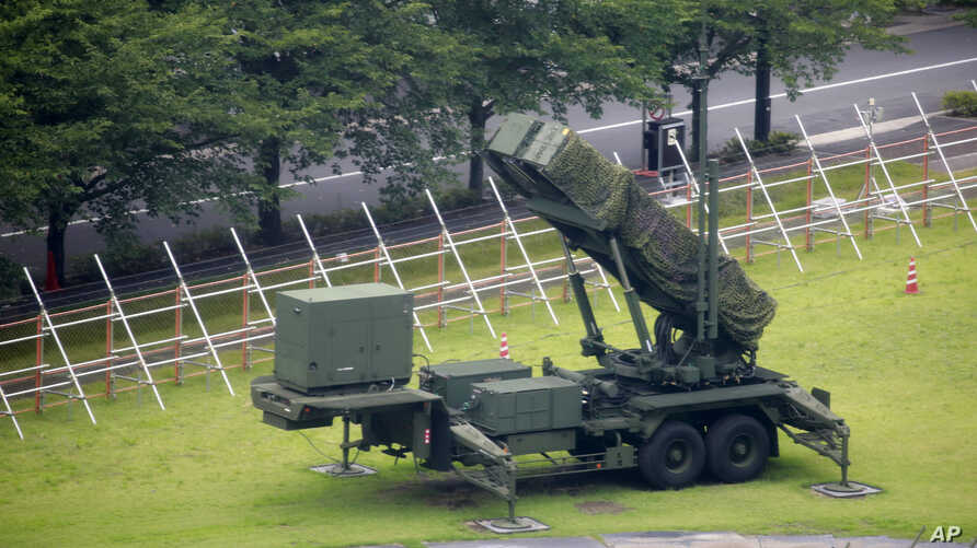 A PAC-3 Patriot missile unit is seen deployed in the compound of Defense Ministry in Tokyo, Aug. 10, 2017.