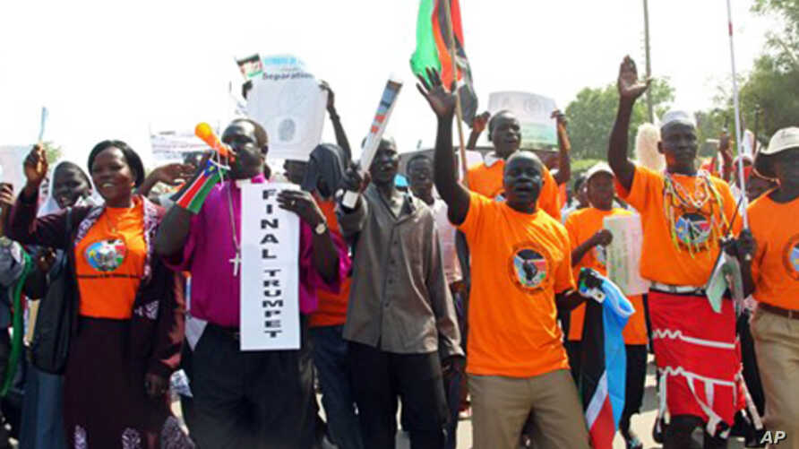 Southern Sudanese citizens clog the streets of the southern capital Juba, as they march in support of the independence referendum, 09 Dec 2010