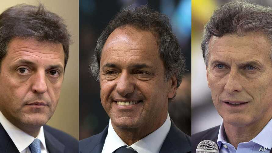 FILES - This combo of three file photos taken in Buenos Aires, Argentina shows three presidential candidates, from left, Sergio Massa at a meeting with the press on Sept. 28, 2015; Buenos Aires' Governor Daniel Scioli at the presentation of a new lin