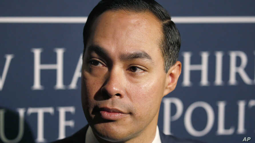 FILE - Julian Castro, former U.S. Secretary of Housing and Urban Development and candidate for the 2020 Democratic presidential nomination, speaks to the media at Saint Anselm College in Manchester, N.H., Jan. 16, 2019.